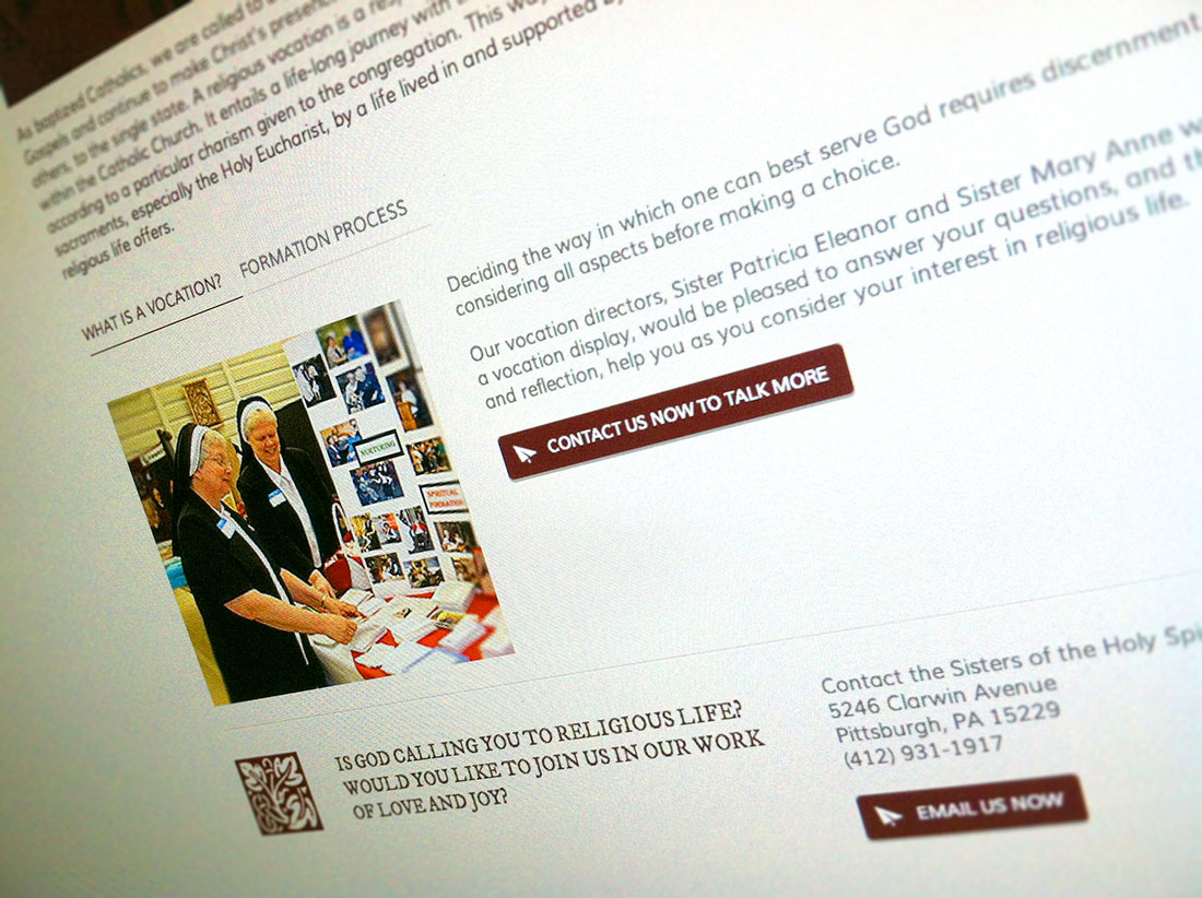 SHS Website allows for Vocations focus